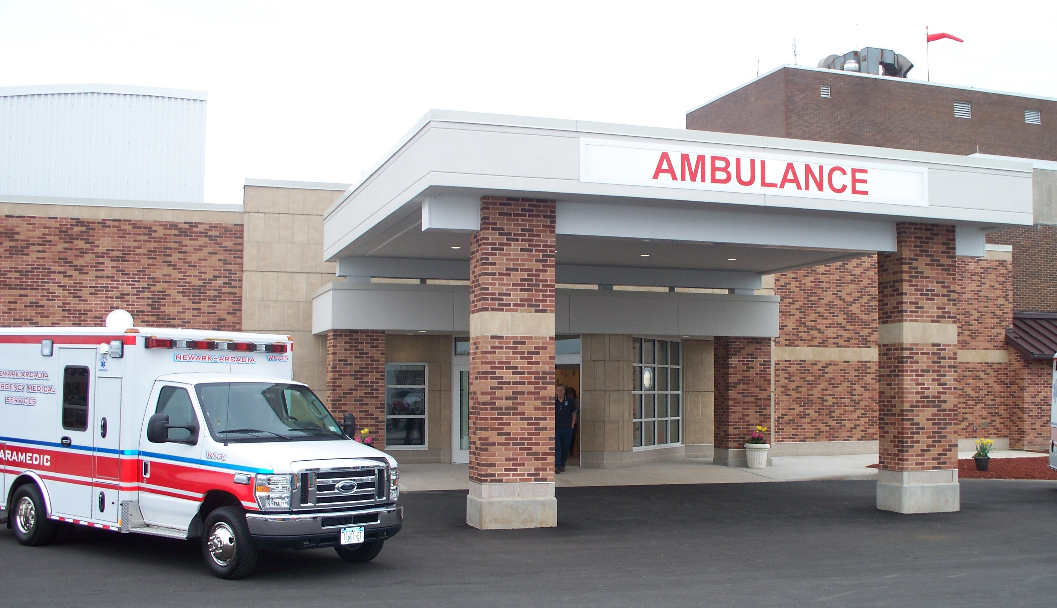 ED entrance with ambulance